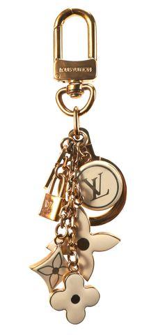 LOUIS VUITTON Gold Fleur De Monogram Pampilles Key Holder Keychain