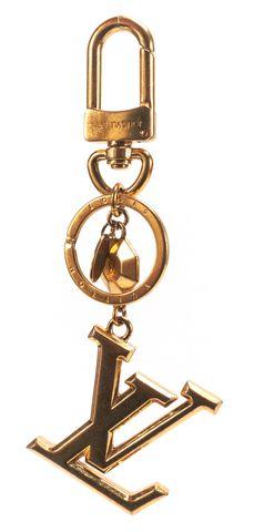 LOUIS VUITTON Authentic Gold LV Facettes Bag Charm Key Holder Keychain