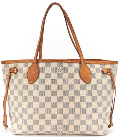 LOUIS VUITTON White Damier Azur Canvas Neverfull PM Tote Handbag