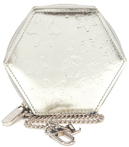 LOUIS VUITTON Silver Leather Flocon Coin Case Card Holder Keychain Wallet