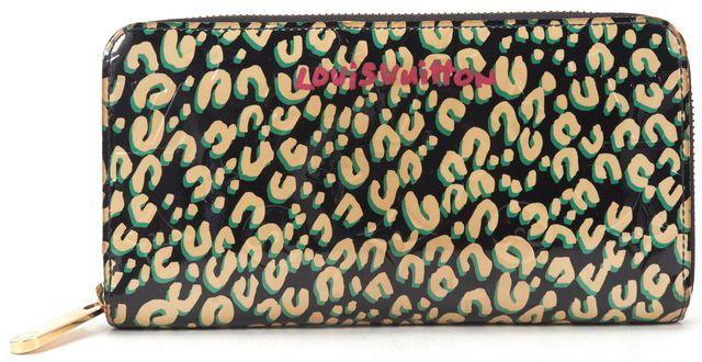 LOUIS VUITTON Authentic Blue Leopard Monogram Vernis Zippy Long Wallet