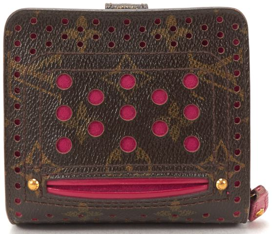 LOUIS VUITTON Brown Monogram Perforated Compact Zip Wallet