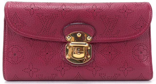 LOUIS VUITTON Grenat Monogram Mahina Amelia Long Wallet w/ Box