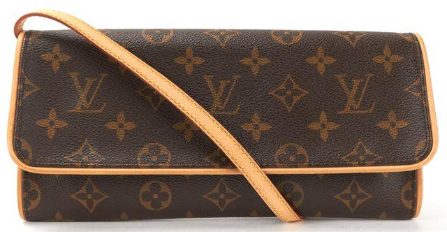 LOUIS VUITTON Brown Monogram Canvas Pochette Twin GM Crossbody Handbag