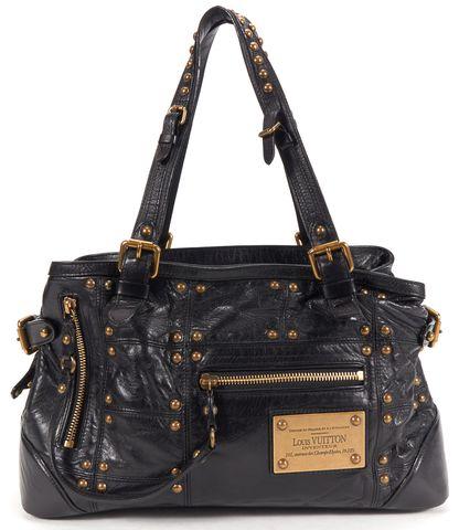 LOUIS VUITTON Authentic Black Leather Sac Riveting Studded Shoulder Bag