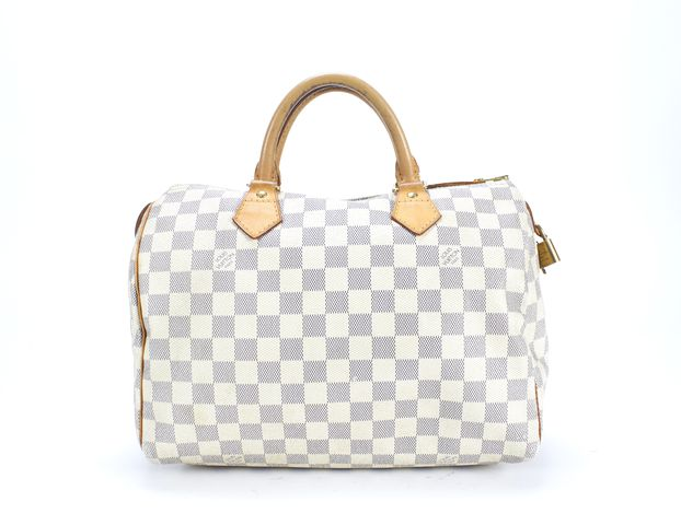 LOUIS VUITTON White Damier Azur Canvas Speedy 30 Handle Bag