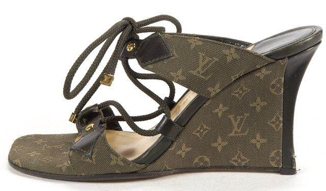 LOUIS VUITTON Olive Green Monogram Canvas Mini Lin Wedges Sandals