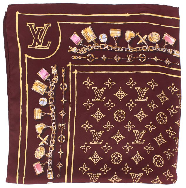 LOUIS VUITTON Burgundy Red Monogram Silk Scarf