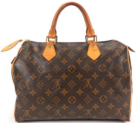 LOUIS VUITTON Brown Monogram Canvas Speedy 30 Top Handle Bag
