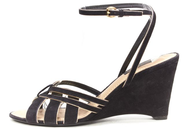 LOUIS VUITTON Black Suede Gold Trim Ankle Strap Wedge Sandals