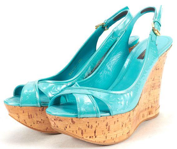 LOUIS VUITTON Turquoise Monogram Patent Leather Cork Heel Wedges
