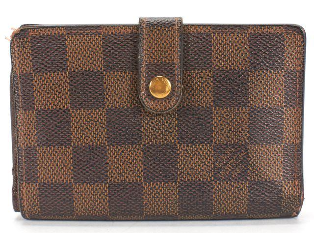 LOUIS VUITTON Brown Damier Ebene Canvas French Kisslock Bi-fold Wallet
