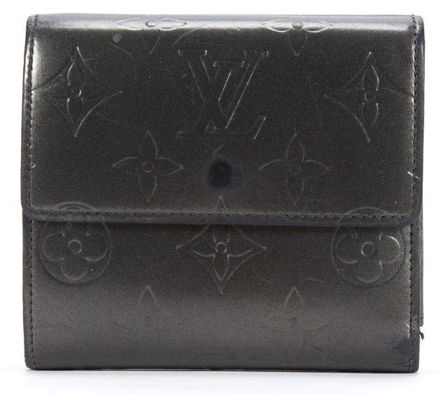 LOUIS VUITTON Pewter Gray Monogram Vernis Porte Monnaie Double Snap Wallet