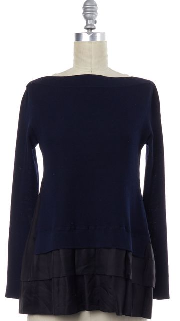 LOUIS VUITTON Navy Wool Boat Neck Knit Top Pleated Trim