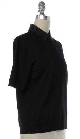 LOUIS VUITTON Black Wool Knit Gray Scalloped Collar Top