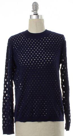 LOUIS VUITTON Navy Blue Wool Open Knit Top Sweater