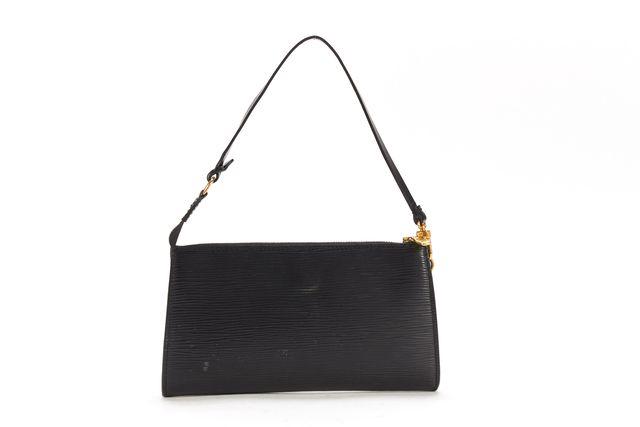 LOUIS VUITTON Black Epi Leather Clutch Shoulder Bag