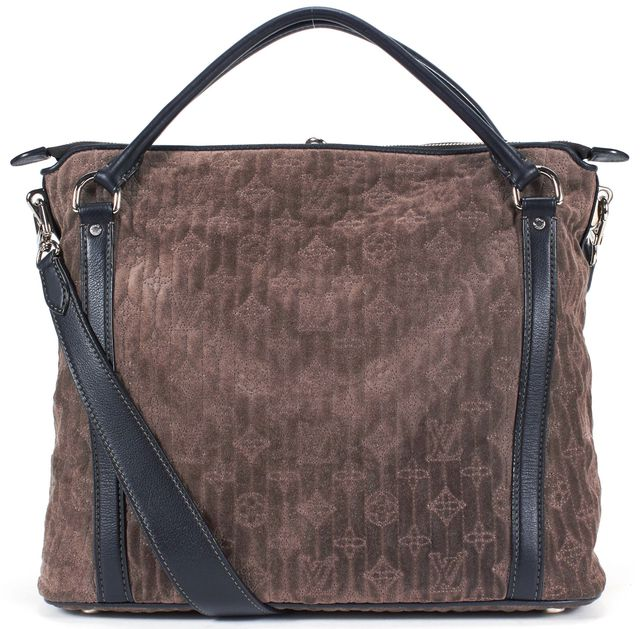 LOUIS VUITTON Taupe Granit Monogram Antheia Suede Ixia PM Shoulder Bag