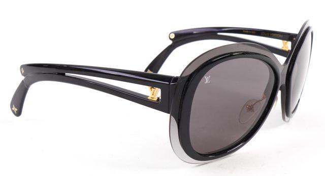 LOUIS VUITTON Black Acetate Frame Oversize Lens Rimless Square Sunglasses
