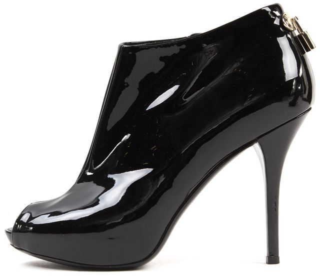 LOUIS VUITTON Black Patent Leather Oh Really! Peep-Toe Ankle Booties