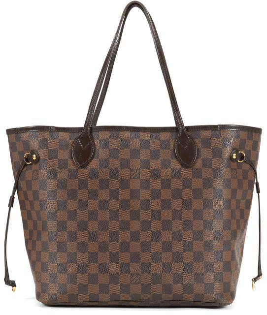 LOUIS VUITTON Brown Coated Canvas Damier Ebene Neverfull MM Tote