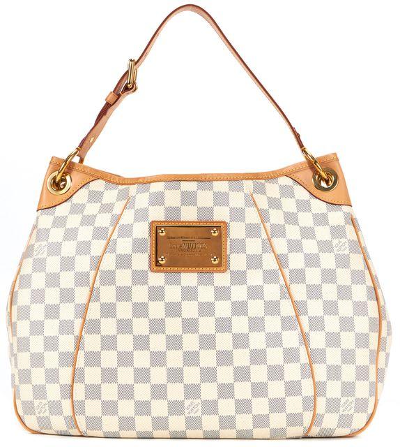 LOUIS VUITTON White Coated Canvas Damier Azul Galleria PM Shoulder Bag