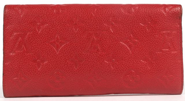 LOUIS VUITTON Cherry Red Monogram Empreinte Leather Removable Zip Pocket Wallet