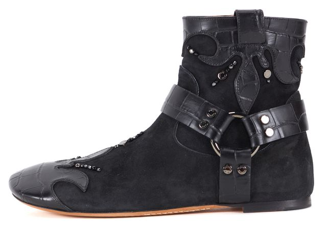 LOUIS VUITTON Black Suede Croc Embossed Leather Embellished Ankle Boots