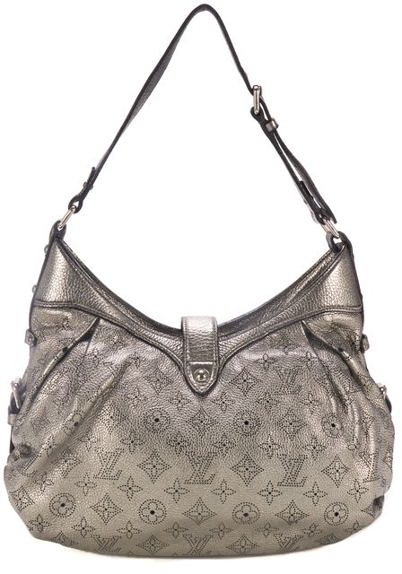 LOUIS VUITTON Silver Argent Leather Mahina Hobo Bag