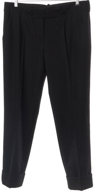 LOUIS VUITTON Black Wool Casual Cuffed Cropped Classic Career Pants