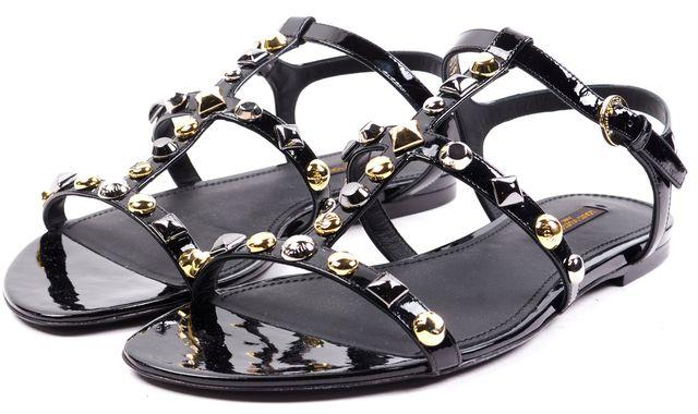 LOUIS VUITTON Black Patent Leather Studded Flat Sandals