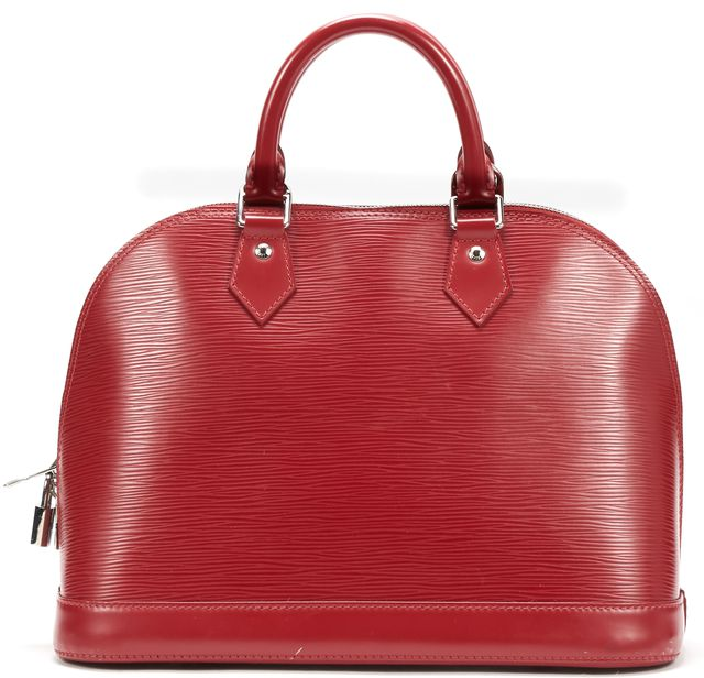 LOUIS VUITTON Red Epi Leather Alma MM Top Handle Bag