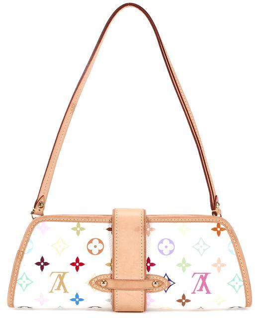 LOUIS VUITTON White Multicolored Coated Canvas Murakami Clutch Shoulder Bag