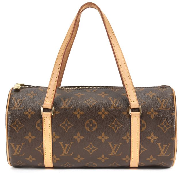 LOUIS VUITTON Brown Monogram Coated Canvas Leather Trim Top Handle Bag