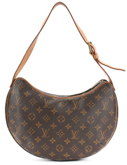 LOUIS VUITTON Brown Monogram Coated Canvas Croissant MM Shoulder Bag