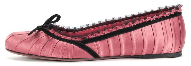 LOUIS VUITTON Rose Pink Black Satin Pleat Ruffle Trim Ballet Flats