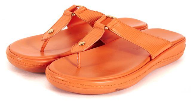 LOUIS VUITTON Orange Epi Leather Gold Hardware Flip Flops