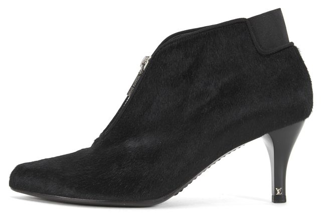LOUIS VUITTON Black Pony Fur Front Zipper Closure Ankle Boots
