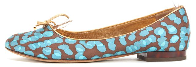 LOUIS VUITTON Blue Brown Abstract Print Front Bow Round Toe Ballet Flats
