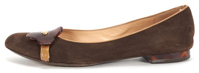 LOUIS VUITTON Brown Suede Leather Flower Embellishment Ballet Flats