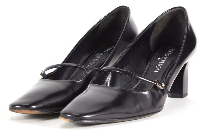 LOUIS VUITTON Black Leather Pointed Toe Mary Jane Heels