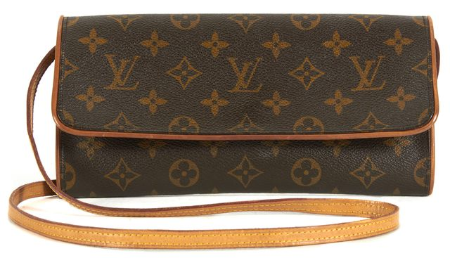 LOUIS VUITTON Brown Monogram Coated Canvas Clutch Convertible Crossbody Bag