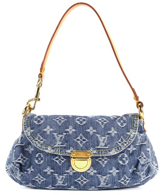LOUIS VUITTON Stonewashed Denim Monogram Mini Pleaty Top Handle Shoulderbag