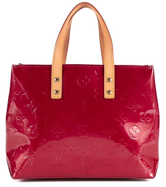 LOUIS VUITTON Red Vernis Embossed Coated Leather Reade PM Tote