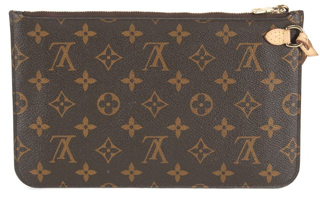 LOUIS VUITTON Brown Monogram Coated Canvas Neverfull Pochette Zip Clutch