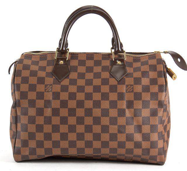 LOUIS VUITTON Brown Damier Ebene Coated Canvas Speedy 30 Top Handle Bag