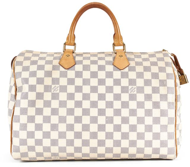LOUIS VUITTON White Coated Canvas Damier Azur Speedy 30 Top Handle Bag