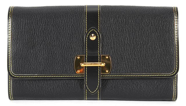 LOUIS VUITTON Black Coated Canvas Long Fold Over Wallet