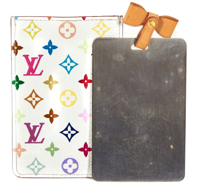 LOUIS VUITTON White Multi-Color Monogram Coated Canvas Mirror & Case Pouch