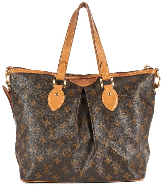LOUIS VUITTON Brown Monogram Coated Canvas Palermo PM Tote Satchel